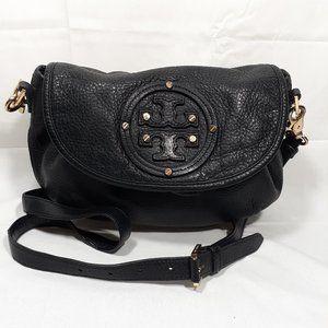 TORY BURCH Black Leather Drawstring Crossbody Bag